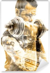 Vida saludable y deporte.Gimnasia ,fitness y entrenamiento con pesas.Doble exposicion Vinyl Wall Mural