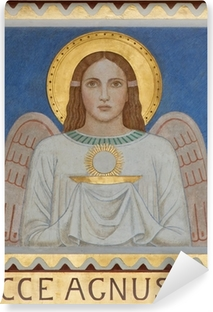 Vienna - Fresco of symbolic angel with the Eucharist Vinyl Wall Mural