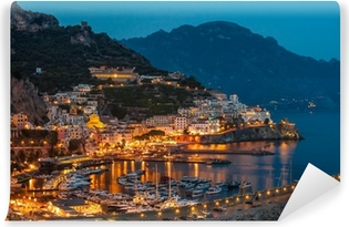 View of the Amalfi city at night, Italy Vinyl Wall Mural