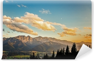 View on panorama of Tatras at sunset, Poland. Vinyl Wall Mural
