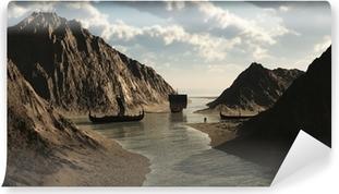 Viking Longships in Icelandic Inlet Vinyl Wall Mural