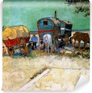 Vincent van Gogh - Gypsy camp, horsedrawn wagon Vinyl Wall Mural