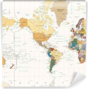 Grayscale world map borders countries and cities illustration vintage color map america centered political world map vinyl wall mural gumiabroncs Image collections