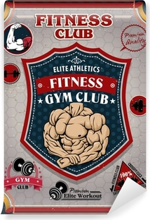Vintage Fitness Gym poster design Vinyl Wall Mural