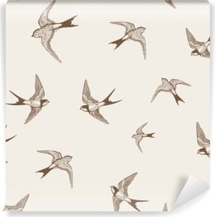 vintage pattern with white little swallows Vinyl Wall Mural