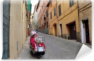 Vintage scene with Vespa on old street, siena, italy Vinyl Wall Mural