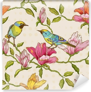 Vintage Seamless Background - Flowers and Birds Vinyl Wall Mural