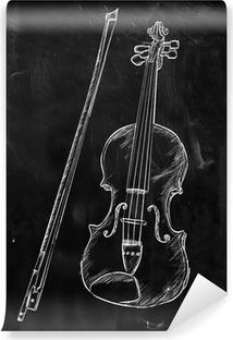 Violin Drawing Sketch on blackboard Vinyl Wall Mural