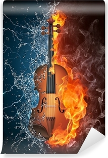 Violin on Fire and Water Vinyl Wall Mural