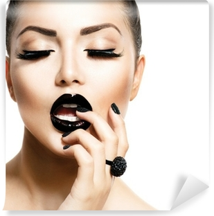 Vogue Style Fashion Girl with Trendy Caviar Black Manicure Vinyl Wall Mural