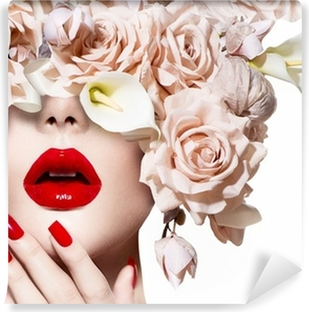 Vogue style model girl face with roses. Red Sexy Lips and Nails. Vinyl Wall Mural
