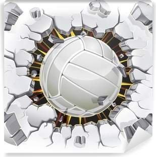 Volleyball and Old Plaster wall damage. Vector illustration Vinyl Wall Mural
