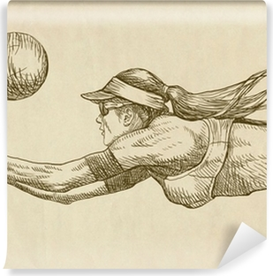 volleyball player - drawing Vinyl Wall Mural