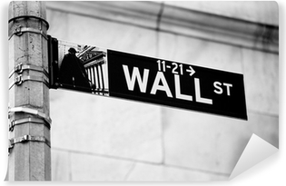 Wall Street road sign in the corner of New York Stock Exchange Vinyl Wall Mural