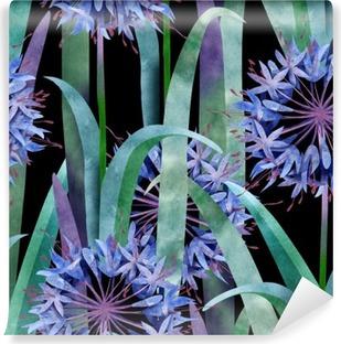 Watercolor Agapanthus Flower Seamless Pattern on Black Background Vinyl Wall Mural