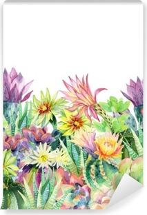 Watercolor blooming cactus background Vinyl Wall Mural