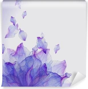 Watercolor card with Purple flower petal Vinyl Wall Mural