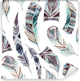 Watercolor decorated tribal feathers seamless pattern Vinyl Wall Mural