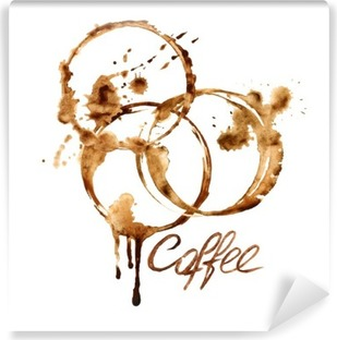 Watercolor emblem with coffee stains Vinyl Wall Mural
