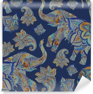 Watercolor ethnic elephant with paisley elements background. Vinyl Wall Mural