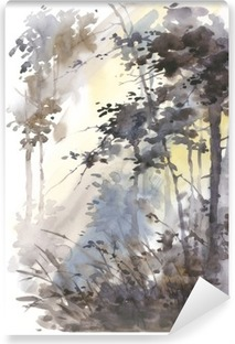 Watercolor hand painted abstract landscape, deep forest, threes in sunshine. Vinyl Wall Mural