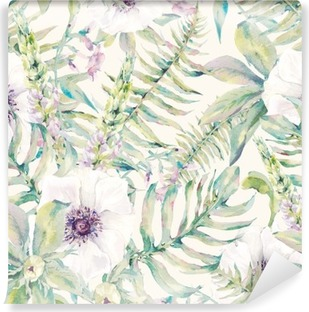 Watercolor leaf seamless pattern with ferns and flowers Vinyl Wall Mural