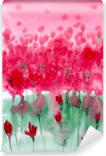 Watercolor painting. Background meadow with red flowers. Vinyl Wall Mural