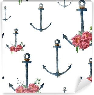 Watercolor pattern with anchor and peony flower. Hand painted vintage nautical illustration with floral decor isolated on white background. For design, print or background Vinyl Wall Mural
