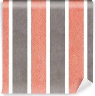 Watercolor pink and grey striped background. Vinyl Wall Mural