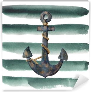 Watercolor retro anchor with rope on striped background. Vintage illustration isolated on white background. For design, prints or background Vinyl Wall Mural