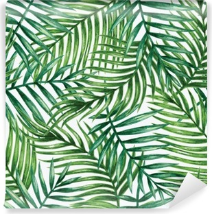 Watercolor tropical palm leaves seamless pattern. Vector illustration. Vinyl Wall Mural