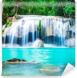 Waterfall in the Jungle at Kanchanaburi Province, Thailand Vinyl Wall Mural