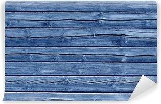 Weathered blue color log house wall. Vinyl Wall Mural