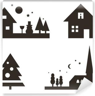 Weihnachtliche Silhouetten: Landschaft, Weihnachtsbaum, ... Vinyl Wall Mural