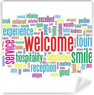 Welcome tag cloud customer service greetings smile card sign welcome tag cloud customer service greetings smile card sign vinyl wall mural m4hsunfo