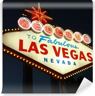 Welcome To Las Vegas neon sign at night Vinyl Wall Mural