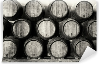 Whisky or wine barrels in black and white Vinyl Wall Mural