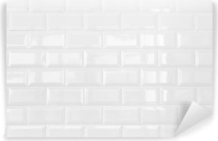white ceramic brick tile wall,background Vinyl Wall Mural