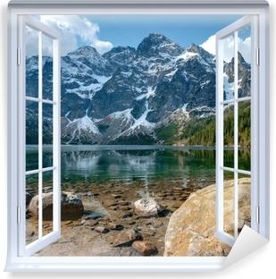 White open window - Sea Eye. Tatra Mountains. Poland. Vinyl Wall Mural