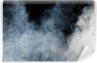 White smoke on black background. Isolated. Vinyl Wall Mural
