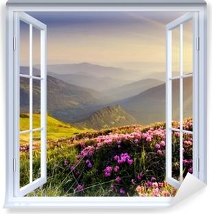 White window open - Mountain landscape Vinyl Wall Mural