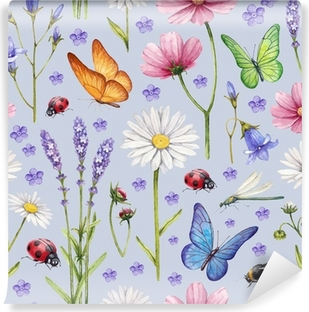 Wild flowers and insects illustration. Watercolor summer pattern Vinyl Wall Mural