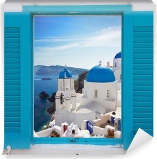 window with view of caldera and church, Santorini Vinyl Wall Mural