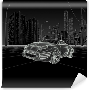 Sports car blueprint original car design wall mural pixers wireframe car vinyl wall mural malvernweather Choice Image