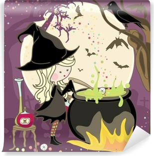 witch stirring a potion in cauldron Vinyl Wall Mural