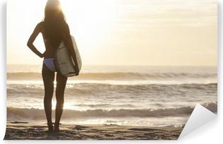 Woman Bikini Surfer & Surfboard Sunset Beach Vinyl Wall Mural
