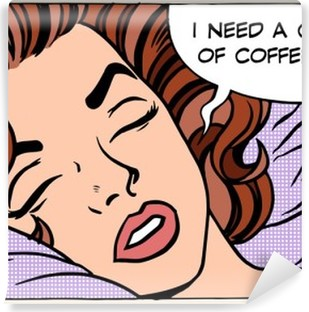 woman dreams morning cup coffee Vinyl Wall Mural