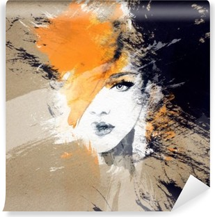 woman portrait .abstract watercolor .fashion background Vinyl Wall Mural
