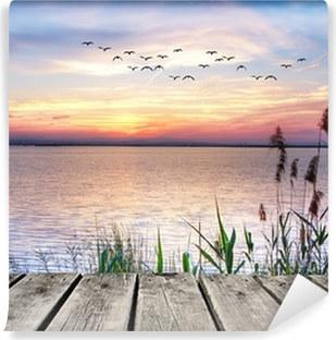 Wooden jetty at sunset Vinyl Wall Mural