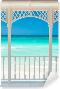Wooden terrace with a view of a tropical beach in Cuba Vinyl Wall Mural
